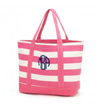Hot Pink Stripe Canvas Tote Bag