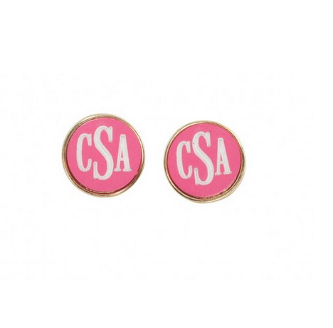 Hot Pink and Gold Post Earrings