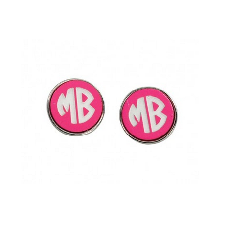 Hot Pink and Silver Post Earrings