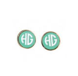 Mint and Gold Post Earrings