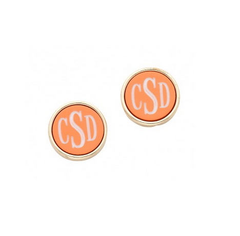 Orange and Gold Post Earrings