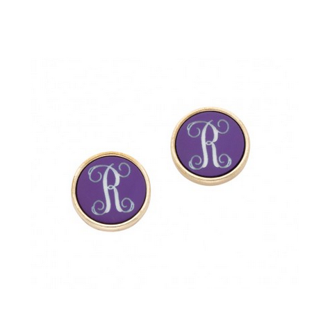 Purple and Gold Post Earrings