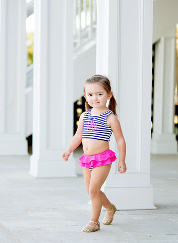 Girls Mini Navy Prep Stripe Swimsuit