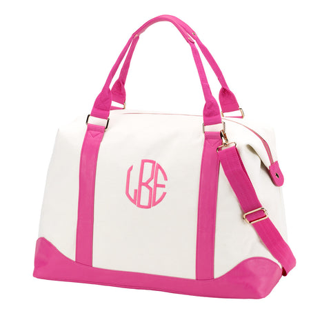 Pink Canvas Weekender Bag