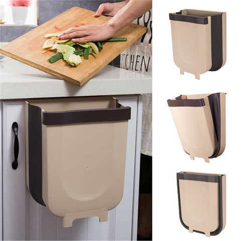 Folding Waste Bin Kitchen Cabinet Door Hanging Trash Bin