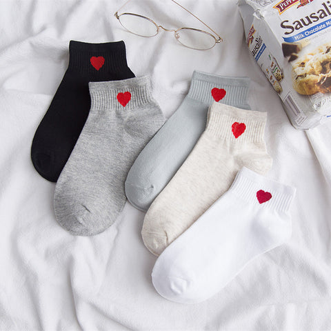 Pack of 5-Short tube socks_new socks ladies cotton socks