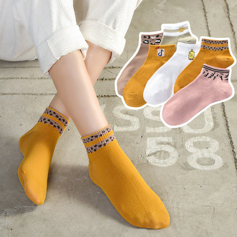 Pack of 5 Korean socks_new ladies cotton boat socks high