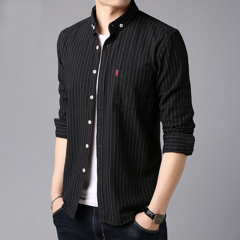 New long-sleeved striped casual fashion men's shirt