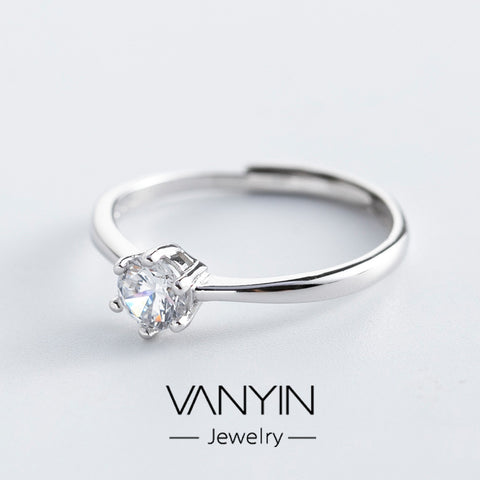 Sterling silver ring_Wan Ying Jewelry Six-Claw Diamond