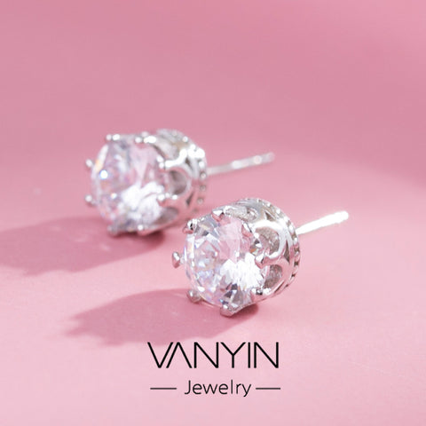Creative gifts_wanying jewelry crown earrings s925 noble