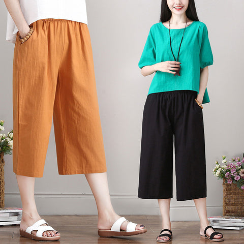 Cotton and linen wide leg pants _ washed cotton and linen