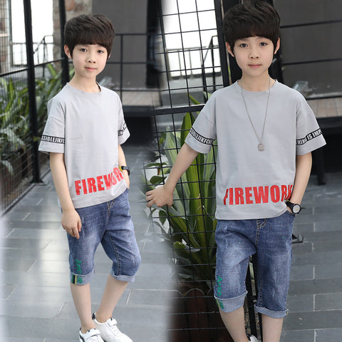 Boys suit_boys suit 2019 summer alphabet print short