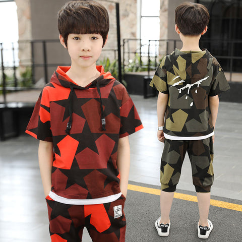 Kids suit_kids kids summer suit boy short sleeve sports kids