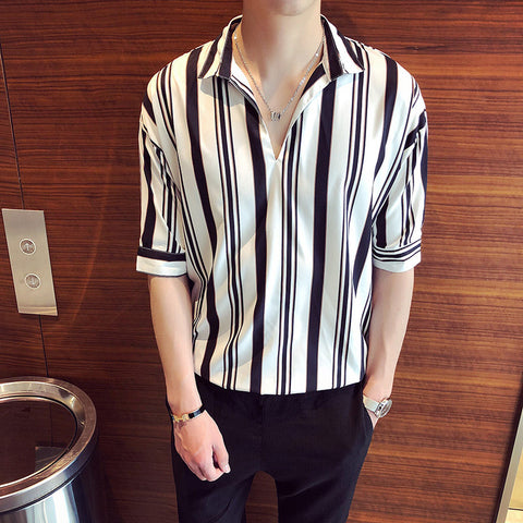 Men's shirts_2019 summer men's new men's vertical stripes