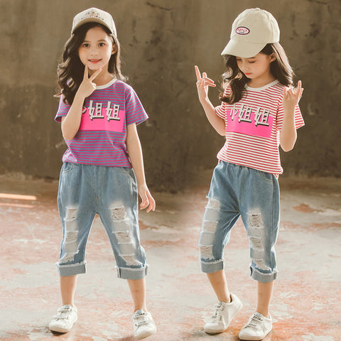 Ripped jeans _ girls summer suit 2020 new foreign style