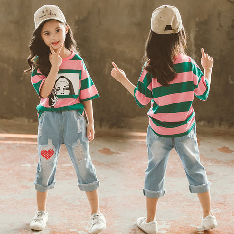 Ripped jeans _ striped short-sleeved t-shirt love ripped