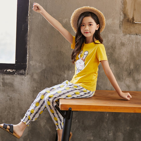 Children's leisure wide-leg pants_girl cotton and linen suit