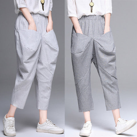 Stitching loose cropped pants _ literary stripes stitching