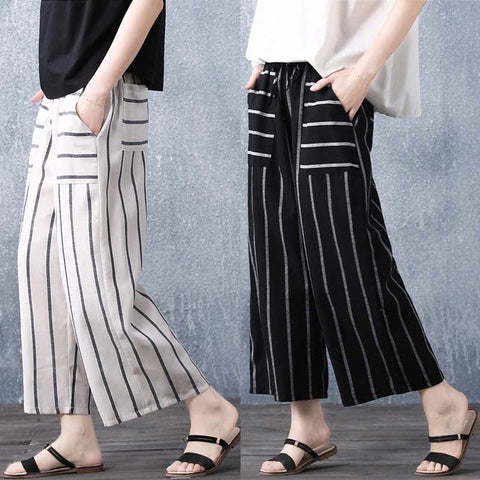 Women's wide-leg pants _ loose striped cotton and linen lace