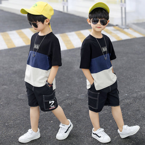 Short-sleeved suit _ kids boy summer dress stitching