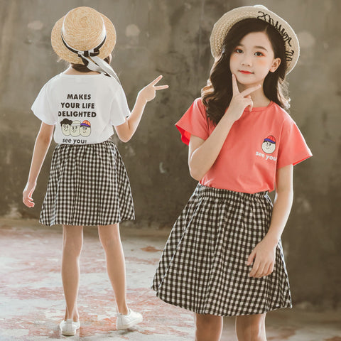 Girls' skirt suit_girls skirt 2019 big kids cartoon round