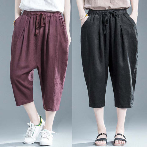 Cotton linen cropped pants _ simple casual solid color