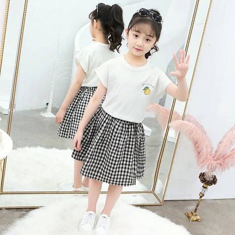 Girl's skirt suit_Girls' skirt, big boy cartoon round neck