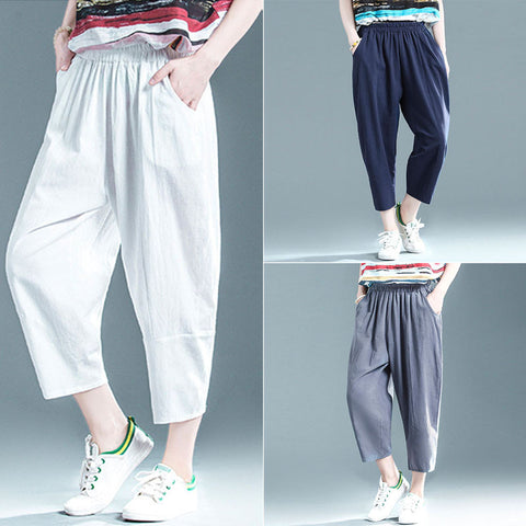 Casual cropped trousers _ solid color cotton linen elastic