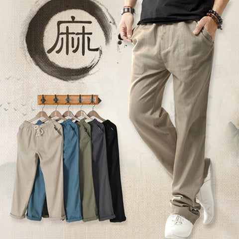 Men's sports pants _ summer men's casual linen pants men's