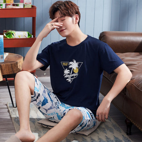 Men's pajamas _ summer men's pajamas short-sleeved cotton