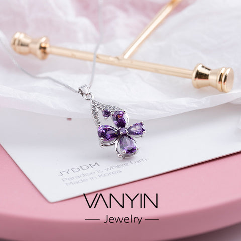 Sterling silver necklace_Wanying jewelry amethyst clover