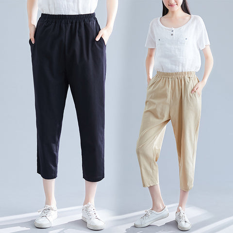 High waist cropped pants_literature solid color loose high