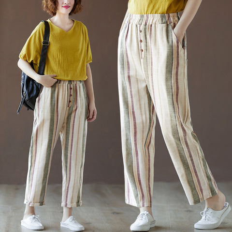 Cotton and linen harem pants _ loose striped cotton and