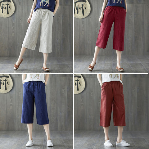 Plus size cropped pants_literature solid color loose plus