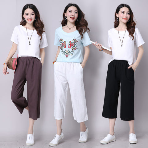 Wild elastic waist cropped pants_Loose solid color wild