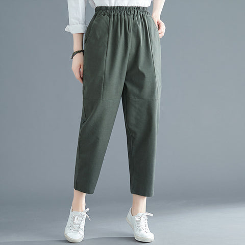 Loose Harem pants _ solid color cotton linen harem pants