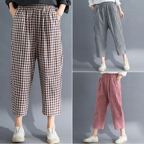 Cotton linen cropped pants _ loose loose plaid cotton