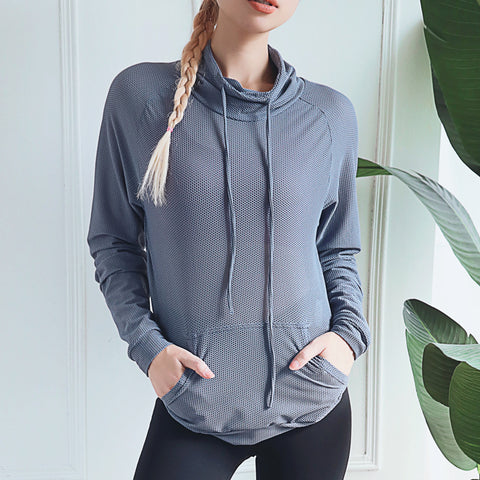 Sports Top_2019 Quick-Dry Sports Top High Neck Loose Long
