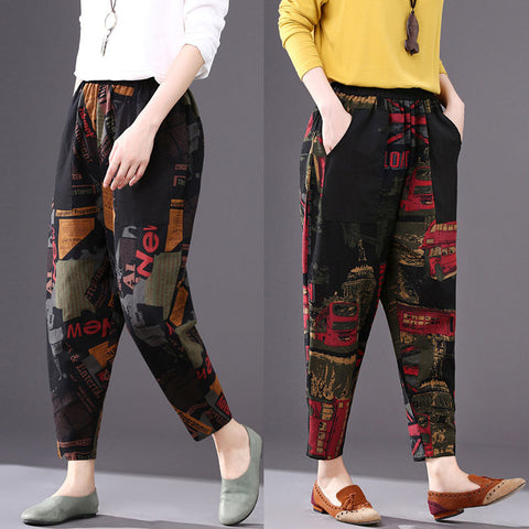 Printed cropped harem pants _ literary loose printed cropped