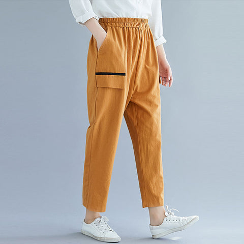 Cotton linen elastic waist trousers _ solid color cotton