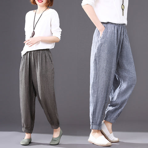 Nine points bloomers _ loose striped elastic waist nine