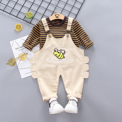 Bib suit_Children's striped long-sleeved two-piece suit