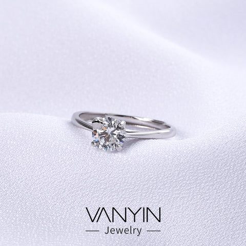 Zircon jewelry_Wan Ying jewelry four-prong diamond ring s925
