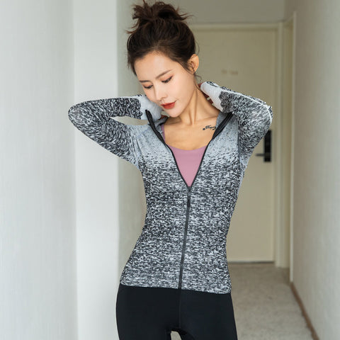 Running Yoga Clothes_New Thin Sports Zip Long Sleeve
