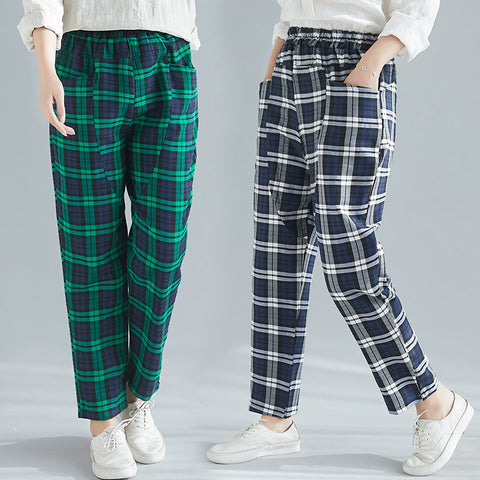 Loose Harem pants _ check pocket cotton linen Harem pants