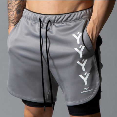 Sports pants _2020 walking shorts men's fake two-piece