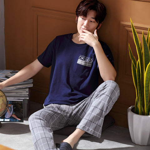 Men's cotton pajamas _ new spring and autumn cotton