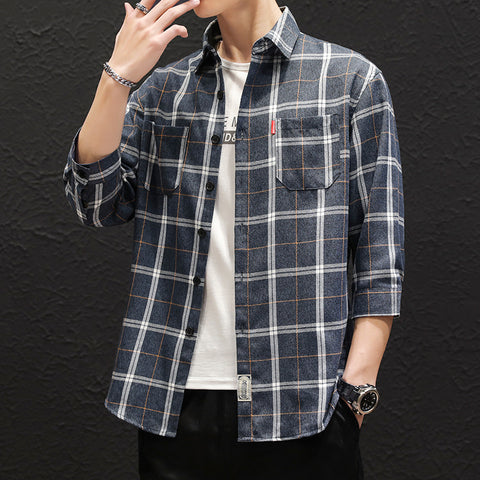 Cropped plaid shirt _ spring and summer new shirt cropped