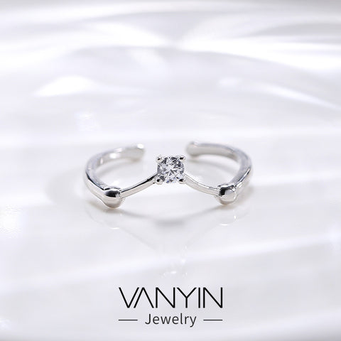 Open ring _ Wanying jewelry open v-ring female s925 red