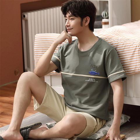 Men's Home Wear-2020 New Pajamas Men's Summer Cotton Short